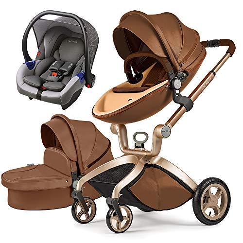 Cochecito de bebé Hot Mom 3 en 1 con Sillas de paseo, 2020 Lifestyle F22 con 3 piezas - Coffee 3-1