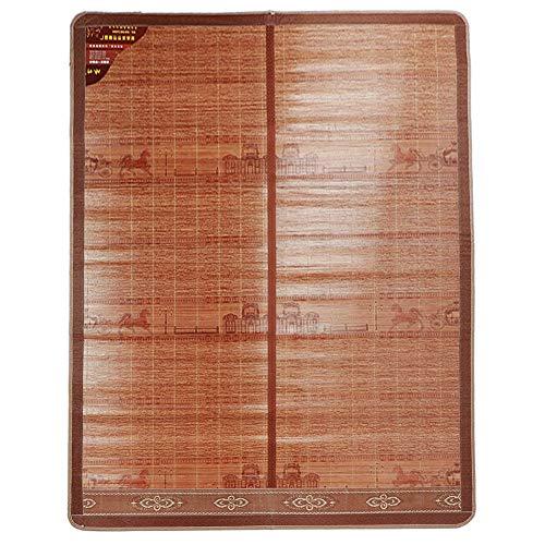 KUIDAMOS Cool Summer Mat, Bamboo Mat Colchones de bambú con diseño Plegable y diseño de Borde Ancho Cubierto Adecuado para el Verano(200 * 180cm)