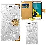 Vodafone Smart Ultra 6 Handy Tasche, FoneExpert® Bling Luxus Diamant Hülle Wallet Hülle Cover Hüllen Etui Ledertasche Premium Lederhülle Schutzhülle für Vodafone Smart Ultra 6 (Weiß)