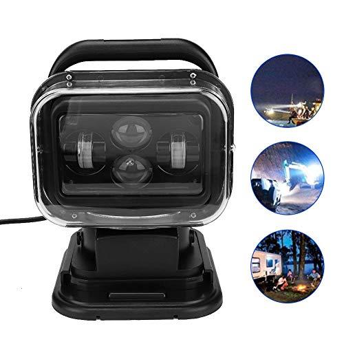 Suchscheinwerfer, LED 60W 6800 Lumen IP67 Wasserdicht Tragbar Auto LKW Fernbedienungssuchscheinwerfer langlebige Outdoor - Suchscheinwerfer Marine Spotlight für Boot, Küstenwache, Yacht, etc(Black)