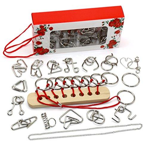 Gracelaza 16 Piezas Juguetes Mágicos de Alambre de Metal Set - 3D Rompecabezas Brain Teaser Puzzle - IQ Inteligencia Juguete Educativo - Juego Ideales y Regalos para Niños y Adolescentes