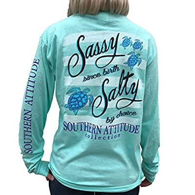 Southern Attitude Salty by Choice Sea Turtles Sea Foam Green Long Sleeve Women's Shirt (Small)