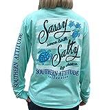 Southern Attitude Salty by Choice Sea Turtles Sea Foam Green Long Sleeve Women's Shirt (X-Large)