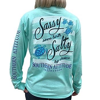 Southern Attitude Salty by Choice Sea Turtles Sea Foam Green Long Sleeve Women s Shirt  Medium