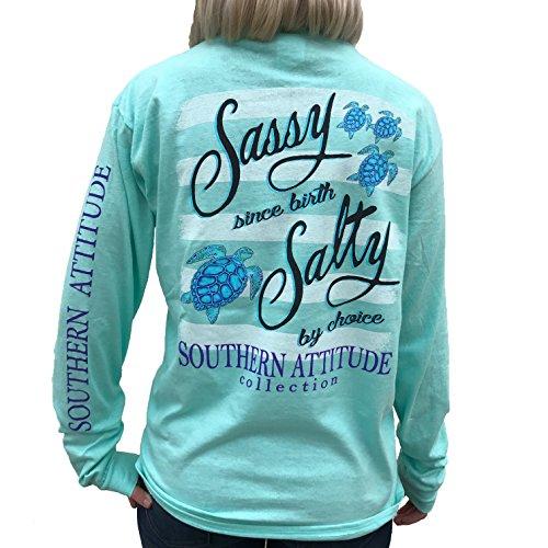 Southern Attitude Salty by Choice Sea Turtles Sea Foam Green Long Sleeve Women's Shirt (Large)