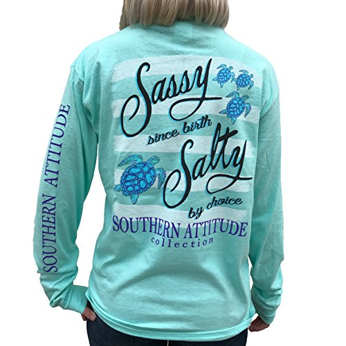 Southern Attitude Salty by Choice Sea Turtles Sea Foam Green Long Sleeve Women's Shirt (2X-Large)