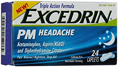 PM HEADACHE RELIEF NON HABIT FORMING 24 - CAFFEINE FREE CAPLETS ACETAMINOPHEN, ASPIRIN, AND DIPHENHYDRAMININE CITRATE TRIPLE ACTION FORMULA