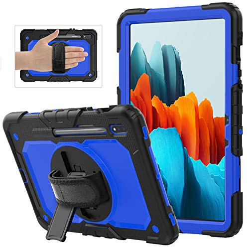 XunyLyee Kids Case for Samsung Galaxy Tab S7 Plus, Heavy Duty Shockproof Hybrid Protective Stand Case & Handle and Shoulder Strap for Samsung Galaxy Tab S7 Plus SM-T970/SM-T976B, Black+Dark Blue