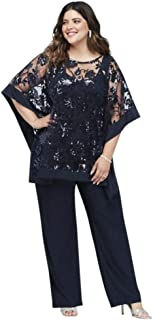 Sequin Lace Plus Size Pantsuit with Sheer Poncho Style 2288W