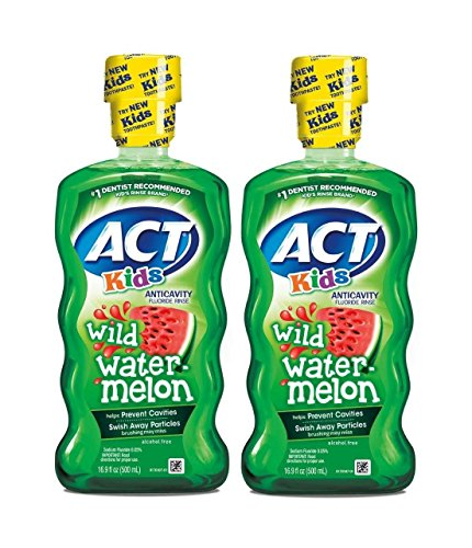 ACT Kids Anticavity Fluoride Rinse, Wild Watermelon, 16.9 Ounce (Pack of 2)