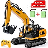 DOUBLE E Remote Control Truck Excavator Toy 17 Channel 1:16 Scale RC Tractor with Metal Shovel Lights Sounds 2 Batteries 2.4Ghz Construction Toy