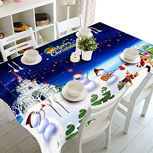 Manteles, Hule con estampado de árbol de Navidad de muñeco de nieve de dibujos animados, Mantel Cuadrado, Mantel impermeable rectangular para la sala de estar del hotel de la cocina del jardín