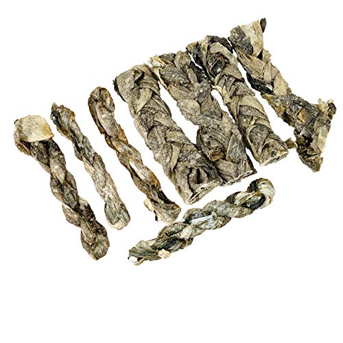 Dog Snacks, natural fish treat for dogs, Cod SWIRLS for chew a long time, 100% dried cod skin fish stick, Source of OMEGA -3, Jerky and training treats for small, medium and large dogs. 200 G