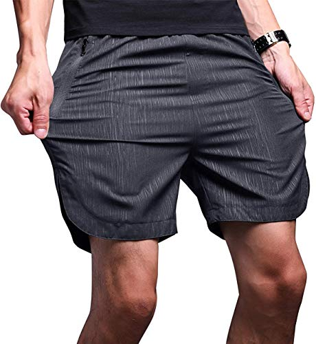 LTIFONE Mens Shorts Gym Quick Dry Workout Training Shorts Running Sweat Track Shorts for Mens Vertical Stripe with Zipper Pocket (Dark Grey S)