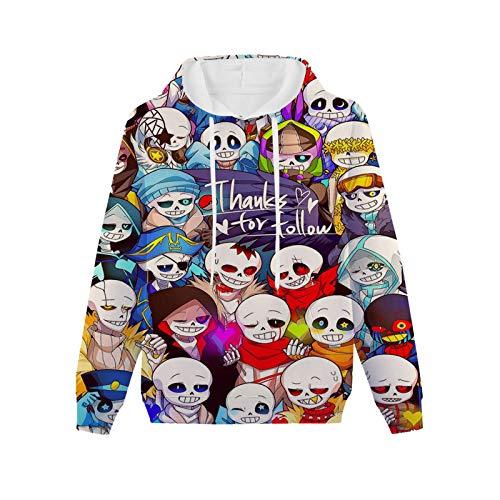 Boy's 3D Un-der-Tale Sans Hoodie, Lightweight Pullover Hooded Sweatshirt for Boys,Girls L