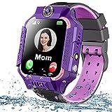 Kids Smart Watch Phone Waterproof GPS Tracker for Girls Boys 4-12 Age, Kids Phone Watch with 2 Way Call SOS Emergency Alert Games Camera Flashlight 1.5' Touch Screen Birthday Gift (Purple)