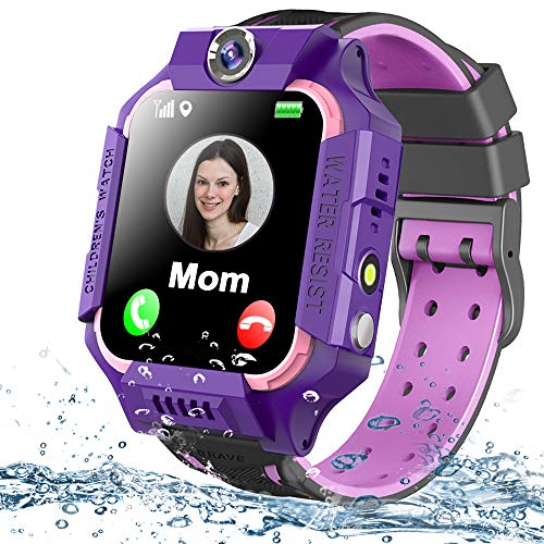 Kids Smart Watch Phone Waterproof GPS Tracker for Girls Boys 4-12 Age, Kids Phone Watch with 2 Way Call SOS Emergency Alert Games Camera Flashlight 1.5