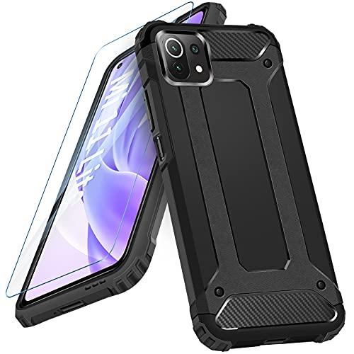AROYI Cover Compatibile per Xiaomi Mi 11 Lite 5G / Mi 11 Lite con Pellicola Protettiva in Vetro Temperato, Custodia Robusto Silicone TPU e PC Cassa Ibrido Doppio Strato Protective Case, Nero