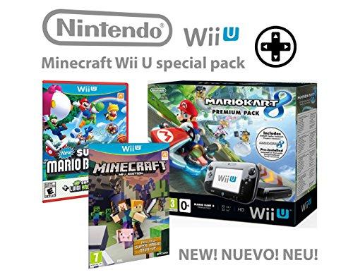 Nintendo consola Premium Pack 32GB Wii U Minecraft Wii U Edition + Mario Kart 8 + Super Mario & Luigi U - Mega Pack 4 Juegos!