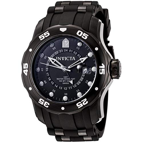 Invicta Pro Diver Men's Black Stainless Steel Pro Diver GMT Swiss Quartz Black Rubber Strap 6996