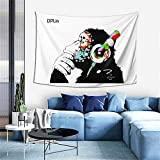 Thinking Gorilla Monkey Tapestry With Music Banksy Headphone Tapestry Wall Hanging For Living Room Bedroom College Dorm Room Home Inhouse Decor