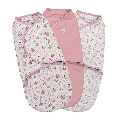 Summer Infant SWADDLE ME Original - Pucksack zum Wickeln von Babys - 0-3 M - Secret Garden (3er Pack)