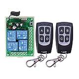 Interruptor de alta sensibilidad DC 12 V 4 CH 4 canales mando a distancia inalámbrico interruptor emisor receptor receptor + emisor control remoto para puerta de garaje luz riego de jardín