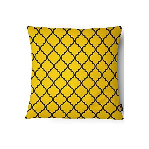 Capa para Almofada em Veludo Velveteen 43x43cm Amarela E Preta