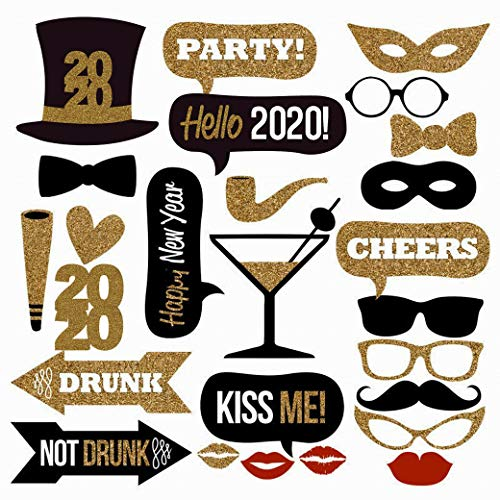 25PCS 2020 New Year's Eve Party Card Masks Photo Booth Props Supplies Decorations by 7-gost