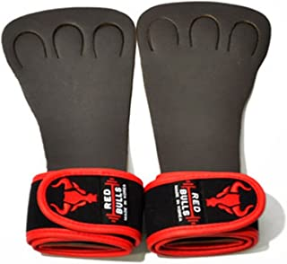 Red Bulls 3 Finger Wrist Weightlifting gloves Power lifting Health Weight Workout Griper Fitness Gym Body (Red)