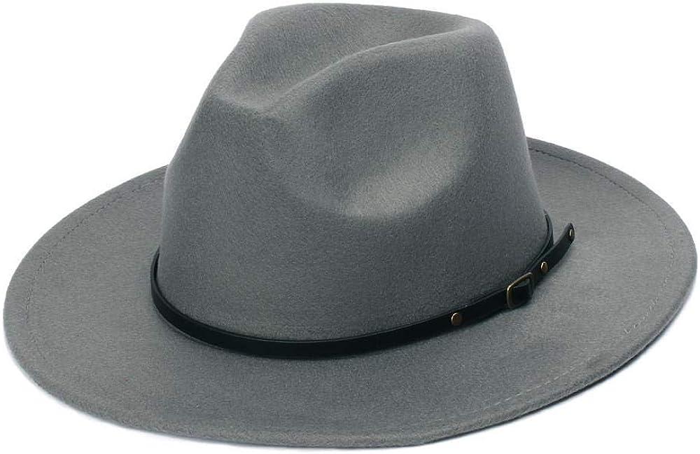 Autumn Winter Womens Felt Hat Fedoras Big Brim Hats for Women British Style Vintage Church Hats Lady Flat Brim Fedoras