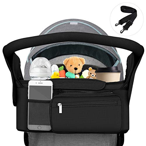 DTNO.I Baby Stroller Organizer, Stroller Organizer Bag with 2 Insulated Cup Holders & Shoulder Strap, Universal Stroller Organizer with Detachable Zippered Bag Fits Uppababy, Baby Jogger, BOB & Britax