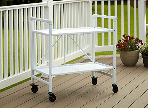 Cosco Indoor/Outdoor Serving Cart, Folding, White