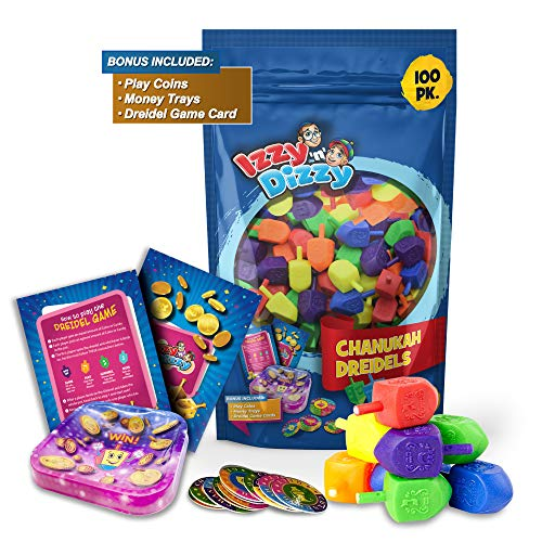 Izzy 'n' Dizzy 100 Medium Dreidels - Assorted Colors - Classic Chanukah Spinning Draidel Game and Prize - Bulk Value Pack
