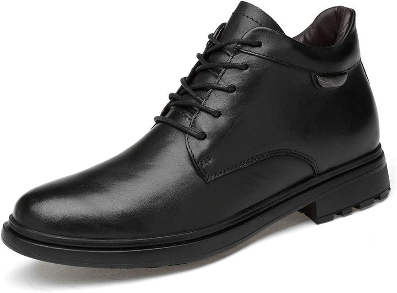 Men's Ankle Boots High-End Leather High Top Round Toe Lacing Casual Fashion Work shoes (Cotton Warm Optional) (color  Warm Black, Size  42 EU) (color   Black, Size   47 EU)