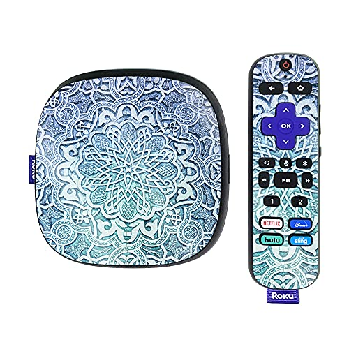 MightySkins Glossy Glitter Skin Compatible with Roku Ultra HDR 4K Streaming Media Player (2020) - Carved Blue | Protective, Durable High-Gloss Glitter Finish | Easy to Apply | Made in The USA