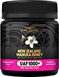 FREZZOR Certified Raw New Zealand Manuka Honey with UAF1000+ (8.8oz/250g) 1000x More Power, Greatest Gift to Support Everyday Wellness, Natural Probiotic, Prebiotic, Antioxidant Superfood, 1 Jar