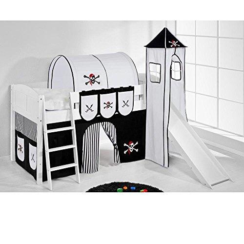 Lilokids Spielbett IDA 4106 Pirat Schwarz Teilbares Systemhochbett weiß-mit Turm, Rutsche und Vorhang Kinderbett, Holz, 208 x 220 x 185 cm