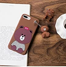 HuBaby 3D Character Silicone Protection Case Compatible with iPhone 7 8 P X Xs (Bear #2, iPhone 7P l 8P)