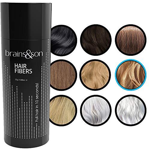 Brains & Son Streuhaar - Premium Haarverdichtung / Schütthaar mit Soforteffekt bei Geheimratsecken, Haarausfall und lichtem Haar - Haarpuder | 25g (BLOND)