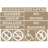 Pool Stencil Kit 4 in. Plastic Stencil for Recreation and Spa/Hot Tub Pool, Made in USA by ComplianceSigns