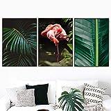 Fresco Planta Palma Hoja Flamenco Escandinavo Pared Arte Lienzo Pintura Verde Posteres Y Impresiones Pared Cuadros para Salon Habitación Decoracion 40X60cmx3 No Enmarcado