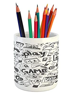 "Ambesonne Video Games Pencil Pen Holder, Monochrome Sketch Style Gaming Design Racing Monitor Device Gadget Teen 90's, Ceramic Pencil Pen Holder for Desk Office Accessory, 3.6"" X 3.2"", White and Black from Ambesonne"