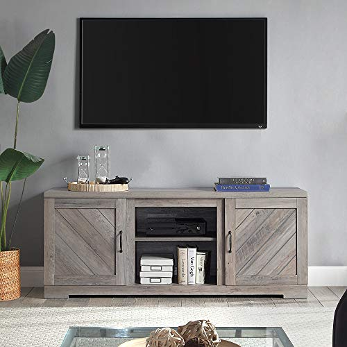 BELLEZE Modern Farmhouse TV Stand & Media Entertainment Center Console Table for TVs up to 65 Inch with Two Shelves and Storage Cabinets - Hilo (Gray Wash)