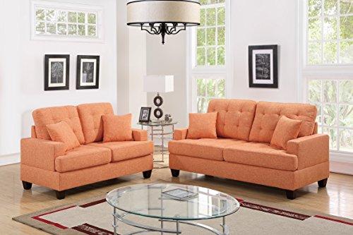 Esofastore 2pcs Sofa Set Bobkona Living Room Sofa and Love-seat Citrus Polyfiber Couch Wooden Legs Pillows Cushion Back Seat