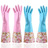 KINGFINGER Rubber Latex Waterproof Dishwashing Gloves,Long Cuff and Flock Lining Household Cleaning Gloves 2 Pair Medium
