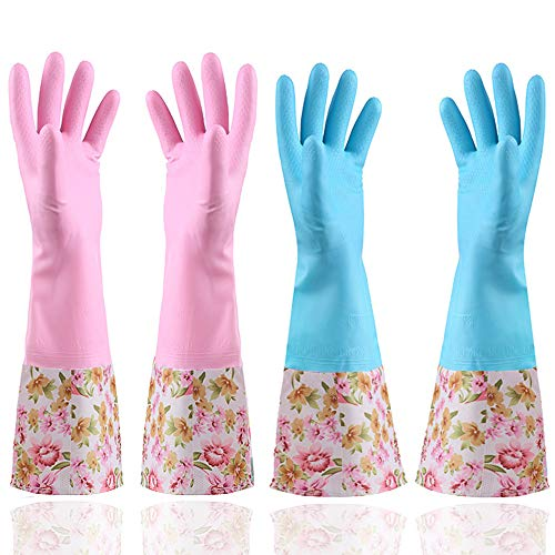 Product Image 1: KINGFINGER Rubber Latex Waterproof Dishwashing Gloves,2 Pair Medium Long Cuff Flock Lining Household Cleaning Gloves