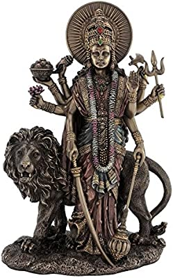 Huge Basket Durga Maa//Sherawali Mata Devi//Goddess Sitting on Lion Statue 10.5 x 8 Inches
