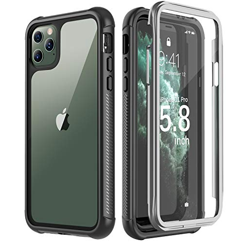 Eonfine Designed for iPhone 11 Pro Case, Shockproof Full-Body Heavy Duty Protection with Built-in Screen Protector Rugged Armor Cover for iPhone 11 Pro 5.8 Inch 2019 Release(Black/Clear)