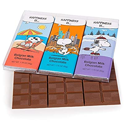 Peanuts Thanksgiving Chocolate Snoopy Gift Box | 3 Bars Variety Pack Gourmet Rich Milk Belgian Chocolate | Charlie Brown Christmas Gifts for Kids, Boys & Girls | Birthday Candy Treats Holiday Basket